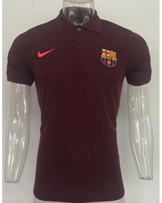 17-18 UEFA Champions League Barcelona Red Man's Polo (17-18 欧冠巴塞红色Polo)