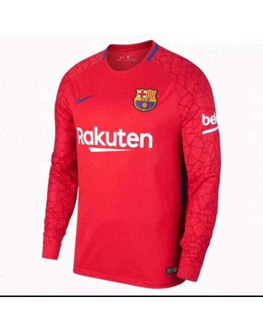 17-18 Barcelona Red Long Sleeve Goal Keeper Jersey, Thai Quality  (17-18巴塞守门服红色长袖)