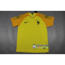 18-19 France Two Star Yellow Short Sleeve Goal Keeper Jersey (18-19法国二星黄色守门服短袖)