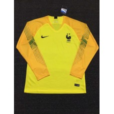 18-19 France Two Star Yellow Long Sleeve Goal Keeper Jersey (18-19法国二星黄色守门服长袖)