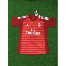 18-19 Real Madrid Red Short Sleeve Goal Keeper Jersey (18-19皇马红色守门服短袖)