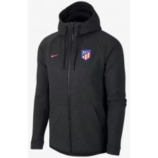 17-18 Atletico Madrid Black zipper hoodie (17-18 马竞黑色拉链带帽卫衣)