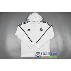 17-18 Real Madrid White zipper hoodie (17-18 皇马白色拉链带帽卫衣)