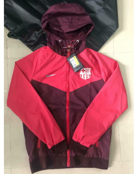 18-19 Barcelona Red Hoody Wind Breaker (18-19巴塞红色帽子风衣)