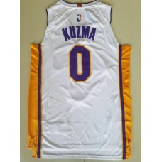 17-18 Los Angeles Lakers White Jersey , Only 0#