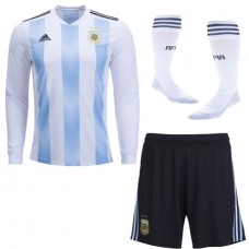 2018 World Cup Argentina Home Long Sleeve Jersey Whole Kit (Jersey+Short+Socks)(2018世界杯阿根廷长袖套装)