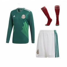 2018 World Cup Mexico Home Long Sleeve Full Kits (Jersey+Short+Socks)(2018世界杯墨西哥主场长袖套装)