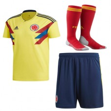 2018 World Cup Colombia Home Soccer Jersey Full Kits (Jersey+Short+Socks)(2018世界杯哥伦比亚主场短袖套装)