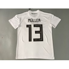 2018 World Cup Germany Home White, 13#MULLER, With World Cup Patch (2018世界杯德国主场白色13#MÜLLER+植绒臂章)