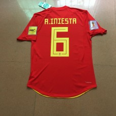 2018 World Cup Spain Home Red , 6#A.INIESTA, With World Cup Patch (2018世界杯西班牙主场红色 6#A.INIESTA+植绒臂章)