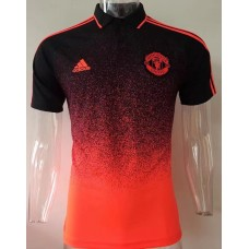 17-18 Manchester United Orange Red Man's Polo (17-18 曼联桔红色Polo)