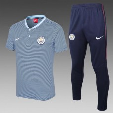 17-18 Manchester City Light Blue Mans Polo Suit (17-18 曼城蓝色Polo套装)