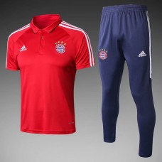 18-19 Bayern Red Mans Polo Suit (18-19拜仁红色Polo套装)
