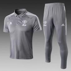 17-18 Manchester United Gray Mans Polo Suit (17-18曼联灰色Polo套装)