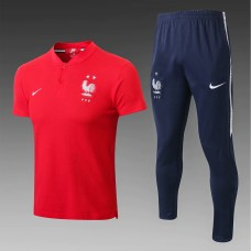 18-19 France Two Star Red Mans Polo Suit (18-19法国二星红色Polo套装)
