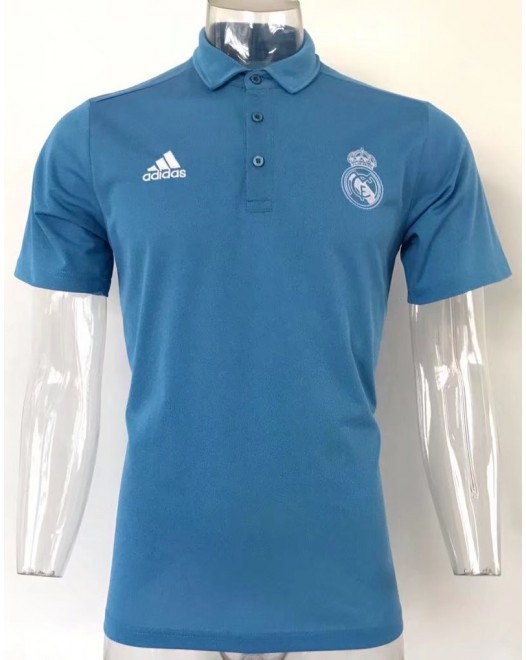17-18 Real Madrid Blue Man's Polo (17-18 皇马蓝色Polo)