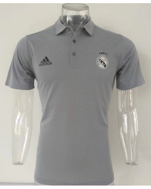 17-18 Real Madrid Gray Mans Polo (17-18 皇马灰色Polo)