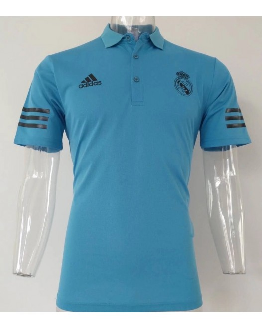 17-18 Real Madrid Champions Blue Mans Polo (17-18 皇马欧冠蓝色Polo)
