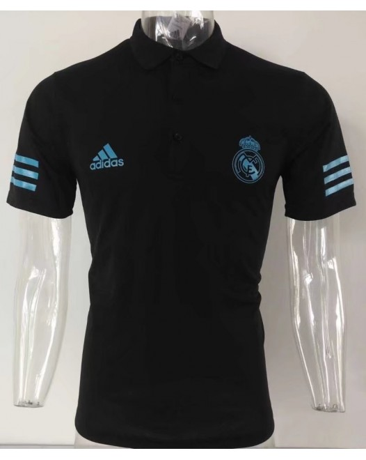 17-18 UEFA Champions League Real Madrid Black Man's Polo (17-18 皇马欧冠黑色Polo)