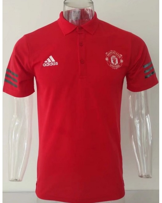 17-18 UEFA Champions League Manchester United Red Man's Polo (17-18 曼联欧冠红色Polo)