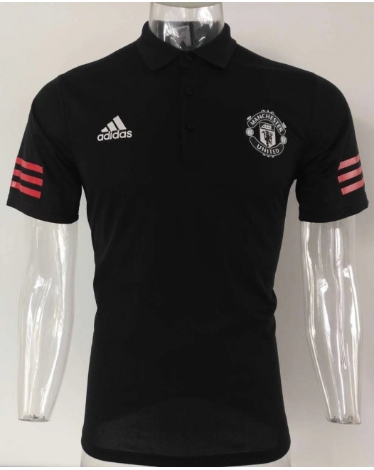 17-18 UEFA Champions League Manchester United Black Mans Polo (17-18 曼联欧冠黑色Polo)