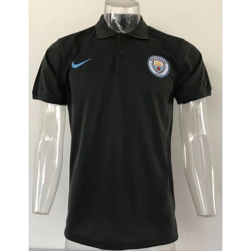 17-18 UEFA Champions League Manchester City Black Man's Polo (17-18 欧冠曼城黑色Polo)