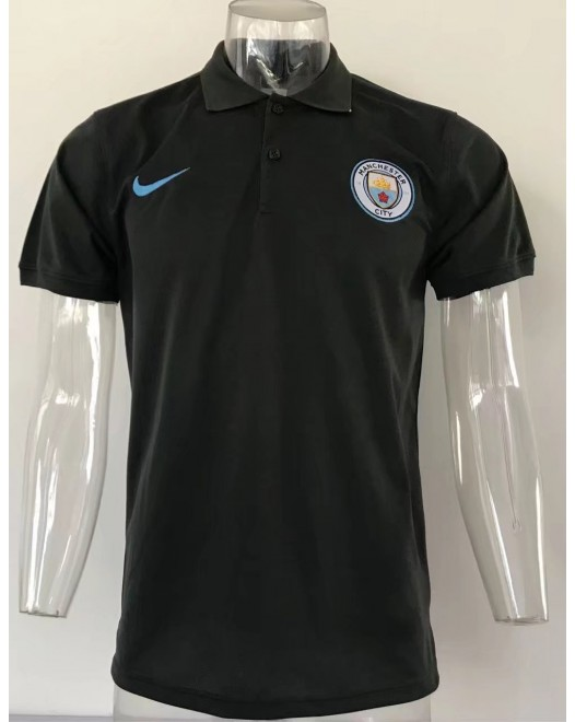 17-18 UEFA Champions League Manchester City Black Mans Polo (17-18 欧冠曼城黑色Polo)