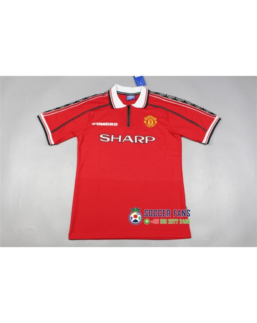 1998-99 Manchester United Home Red Retro Jersey (1998-99曼联主场三连冠复古短袖)