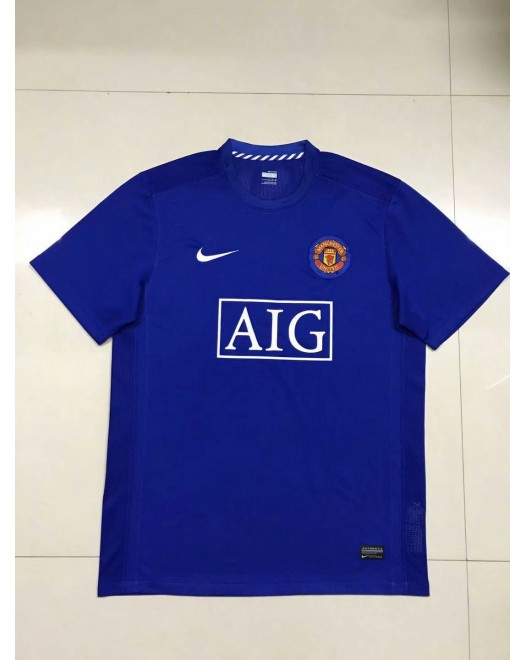 2007-2008 Manchester United Away Blue Retro Short Jersey (2007-2008曼联客场蓝色复古短袖)