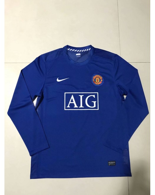 2007-2008 Manchester United Away Blue Retro Long Jersey (2007-2008曼联客场蓝色复古长袖)