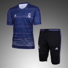 16-17 Real Madrid Blue Short-sleeved Training Suit  (16-17 皇马蓝色短袖训练服)