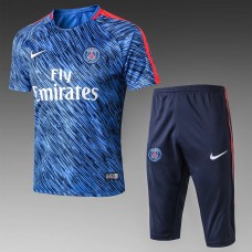 17-18 PSG Blue Short-sleeved Training Suit (17-18巴黎蓝色短袖训练服)