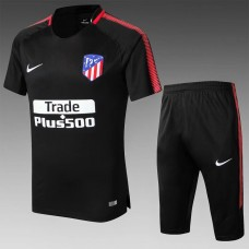 17-18 Atlético de Madrid Black Short-sleeved Training Suit (17-18马竞黑色短袖训练服)