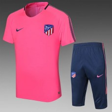 17-18 Atletico de Madrid Pink Short-sleeved Training Suit (17-18马竞粉红色短袖训练服)