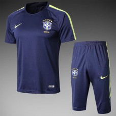 2018 World Cup Brazil Navy Blue Short-sleeved Training suit (2018世界杯巴西深蓝色短袖训练服)