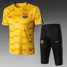 17-18 Barcelona Yellow Short-Sleeved Training Suit (17-18巴萨黄色移印短袖训练服)