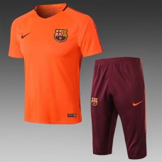 17-18 Barcelona Orange Short-Sleeved Training Suit (17-18巴萨橙色短袖训练服)