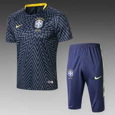 18-19 Brazil Navy Blue Short-Sleeved Training Suit  (18-19巴西深蓝色短袖训练服)