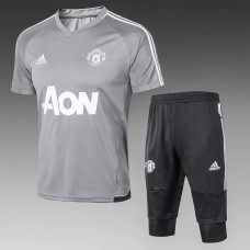 18-19 Manchester United Grey Short-Sleeved Training Suit (18-19曼联灰色短袖训练服)