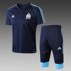 17-18 Marseille Navy Blue Short-Sleeved Training Suit (17-18马赛深蓝色短袖训练服)