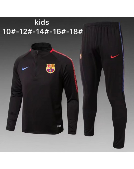 17-18 Barcelona Black kid training suit (17-18巴塞黑色童装训练服)