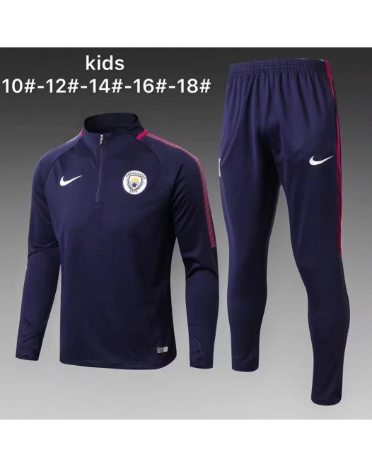 17-18 Manchester City Blue kid training suit (17-18曼城宝蓝童装训练服)