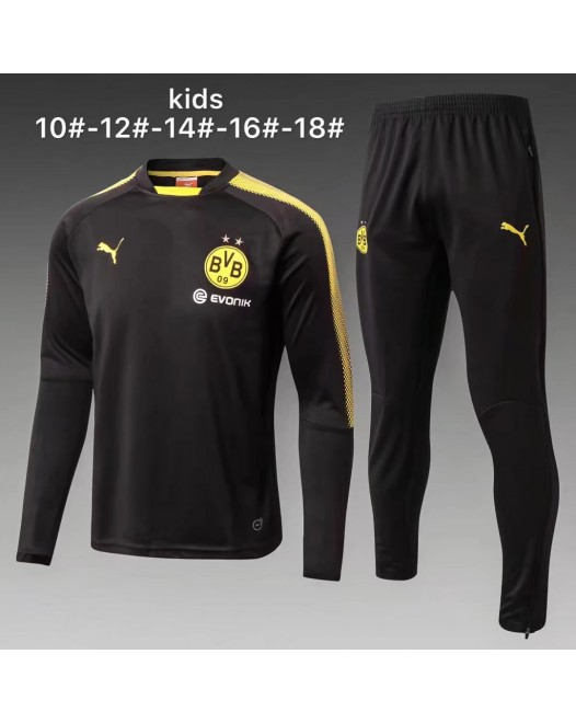 17-18 Dortmund round neck Black kid training suit (17-18多特圆领黑色童装训练服)