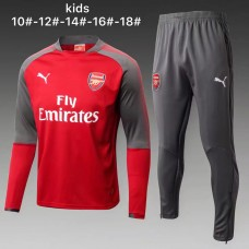17-18 Arsenal round neck Red kid training suit (17-18阿森纳圆领红色童装训练服)