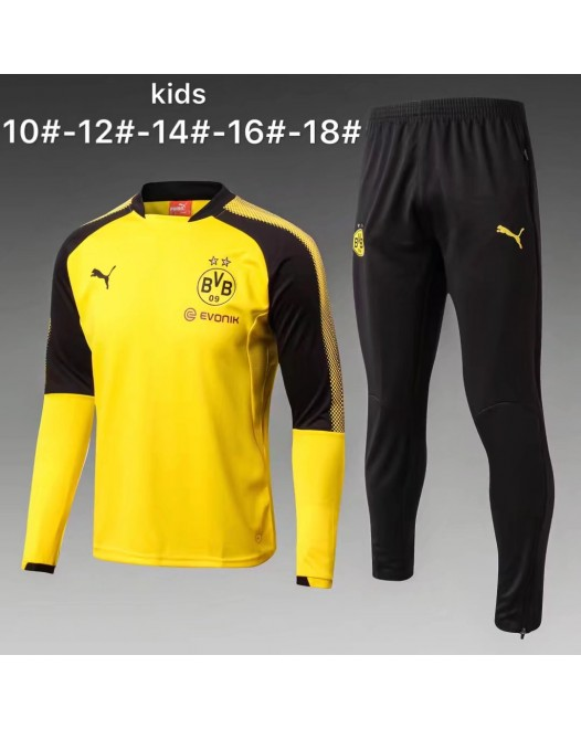 17-18 Dortmund round neck Yellow kid training suit (17-18多特圆领黄色童装训练服)