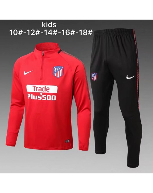 17-18 Atletico Madrid round neck Red kid training suit (17-18马竞圆领红色童装训练服)