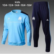 17-18 Marseille Blue round neck kid training suit (1718马赛圆领蓝色童装)