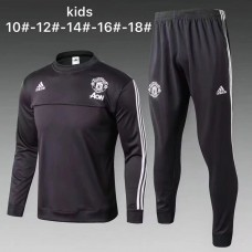 17-18 Manchester United Dark grey round neck kid training suit (17-18曼联圆领深灰色童装训练服)