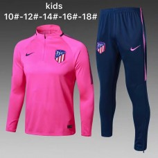 17-18 Atletico Madrid round neck Pink kid training suit (17-18马竞圆领粉红色童装训练服)