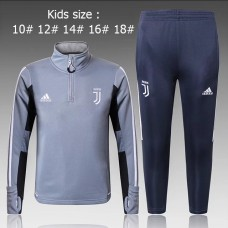 17-18 Juventus Gray kid training suit (17-18尤文灰色童装训练服)